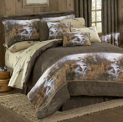 Duck Approach 3 Pc TWIN Comforter Set - Bedding Lodge Mallards Lake Pond Reeds
