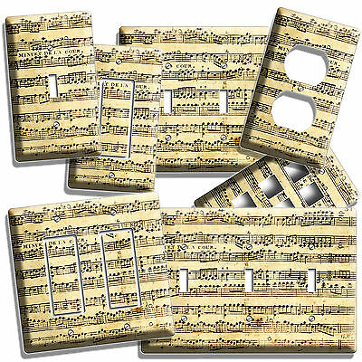 Sheet Music Vintage Musical Notes Light Switch Wall Plate Outlet Studio Room Art