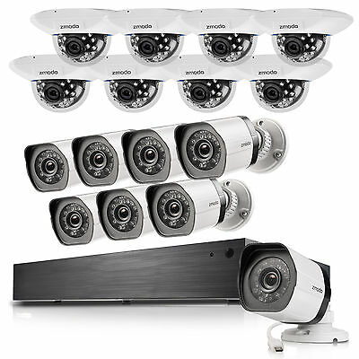 Zmodo 1080p 16 Channel NVR W/ 16 1.0MP HD Outdoor Indoor Security Camera System