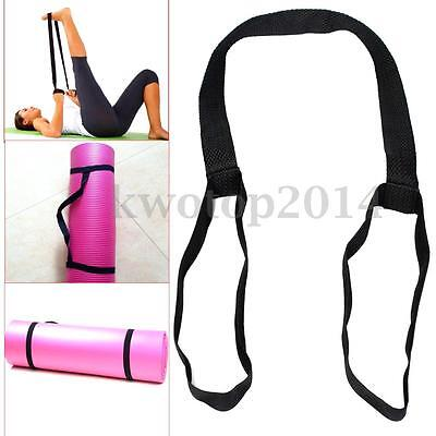 Black Soft Durable Polyester Yoga Pilates Mat Loop Sling Strap Exercise Stretch