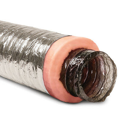 8-in x 25-Ft Insulated Flexible Round Flex Duct Tube R6 Heating/AC Vent Venting