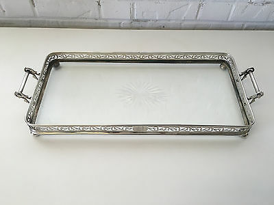 Antique George Henckel Mermod Jaccard Sterling Silver & Cut Glass Large Tray