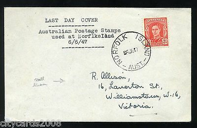 1947 NORFOLK ISLAND Last Day of  use of Australian Postage Stamps Cover