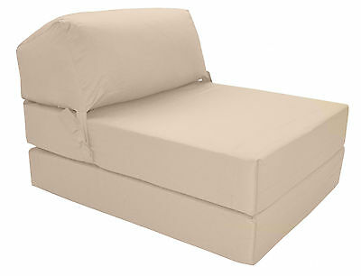 CREAM Deluxe Jazz Single Chair Bed Z Guest Fold Out Futon Chairbed Matress