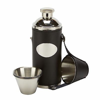 8oz leather hunting hip flask with 4 cups & free funnel - game shooting, golf