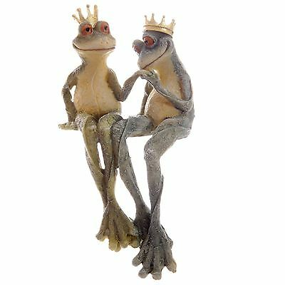 Long Legged Garden Frog Prince and Princess Shelf Sitter 26.5cm High