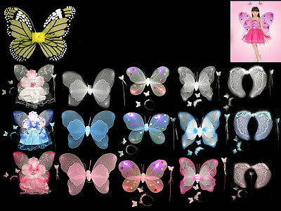 Butterfly Wings With Skirt Wand Headband With Light Fairy for Kids