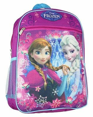 "Disney Frozen 15"" School Backpack Princess Elsa and Anna NWT Purple and Blue"