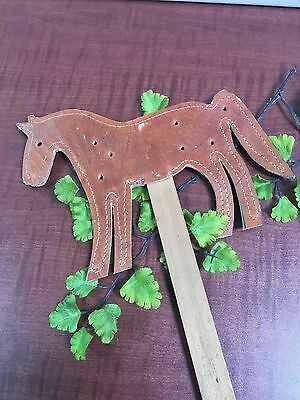 HORSE SHAPED Leather Fly Swatter Hand Crafted Wood Handle Brown 19""