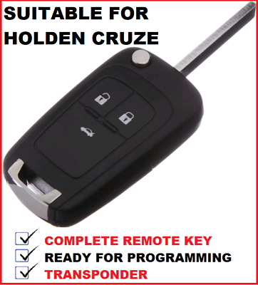 Holden Cruze Complete key 3 Button remote Flip Key blank includes chip + remote