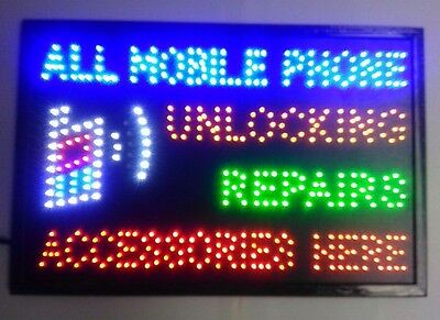 """Led Sign Board """"all Mobile Phone Unlocking Repairs Accessories Here"""""""