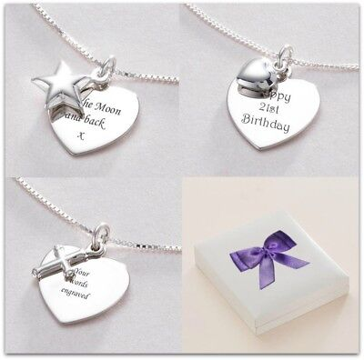 Sterling Silver Necklace, Personalised with ANY Engraving. Star, Heart or Cross