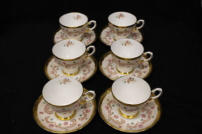 Set of 6 Vintage Gold TUSCAN Fine English Bone China Cups & Saucers Hand Painted