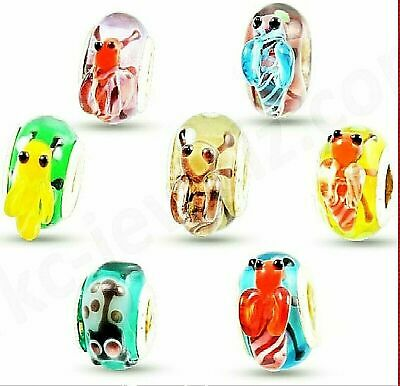 1- 100pcs WHOLESALE Childrens ANIMAL CHARMS SILVER BEADS For BRACELETS Murano UK