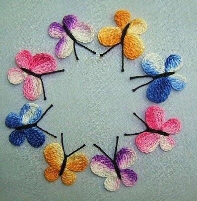 12 Crochet  Butterfly Appliques,Embellishments,Scrapbooking,Accessories,Crafts