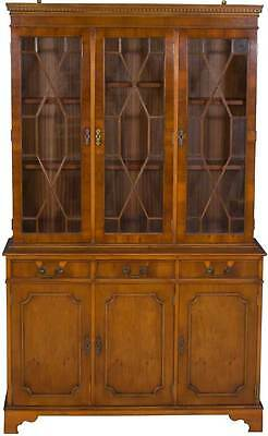 Yew Wood Vintage Antique Style Triple Breakfront Bookcase Display China Cabinet
