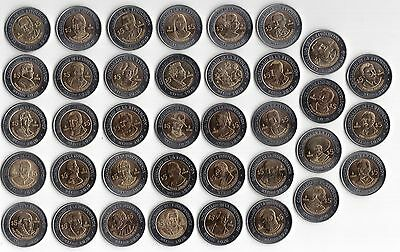 Mexico - 37 Dif 5$ Bimetal Unc Coins Complete Set 2008-2010 Years Independence