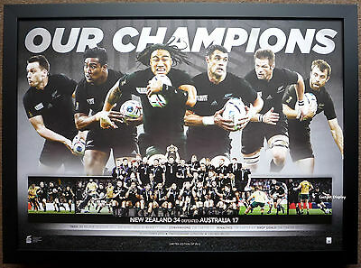 New Zealand All Blacks 2015 Rugby World Cup Champions Official Print Framed