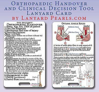 Orthopaedic Handover + Ottawa Ankle Rules + Colles' Fracture Lanyard Badge Card