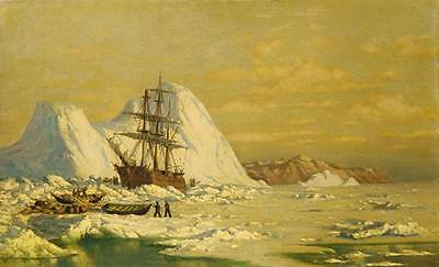 Handmade Oil Painting repro William Bradford An Incident of Whaling