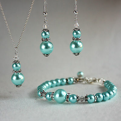Aqua blue crystal pearl necklace bracelet earring silver wedding bridesmaid set
