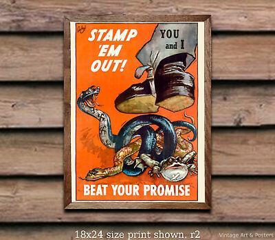 Stamp em Out! - WWII US Propaganda Poster [4 sizes, matte+glossy avail]