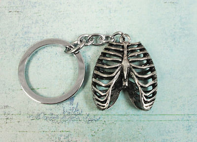 Ribcage Keychain, ribs anatomy skeleton horror gothic macabre halloween