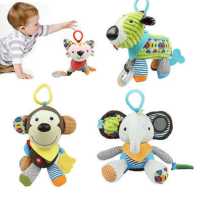 Nob Infant Newborn Baby Pram Bed Bells Soft Hanging Toys Animal Handbells Rattle