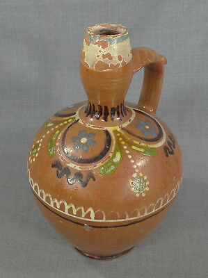 "11.5""ottoman Islamic Glazed Redware Pottery Pitcher Ewer Jug Hand Painted Flower"