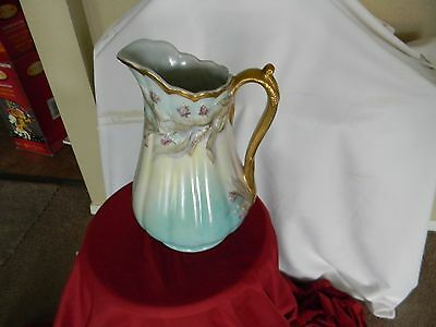antique/vintage red cliff ironstone ornate 12 inch pitcher