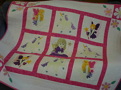Handmade Patchwork Baby Quilt - Fairies and Unicorn -