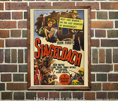 John Wayne - Stagecoach #1 - Vintage Movie Poster from 1939 Classic Film
