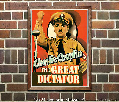 Charlie Chaplin - The Great Dictator - Vintage Movie Poster from Classic Film