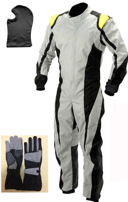 Go Kart Cordura Suit-Black-White-Yellow (Free Gift-Gloves & Balaclava) All Sizes