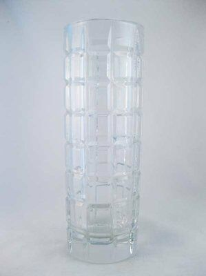 "Crystal Clear Thick Block~Cube Pattern Vase 8.5"" Tall"