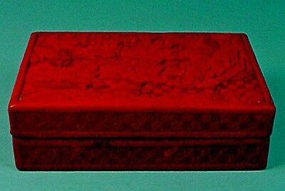 EARLY 20th CENTURY CHINESE HAND CARVED CINNABAR LACQUER BOX