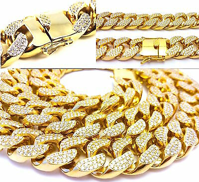 Iced Out 5 Kilo Lab Diamond 14K Gold Miami Cuban Link Heavy Chain Necklace