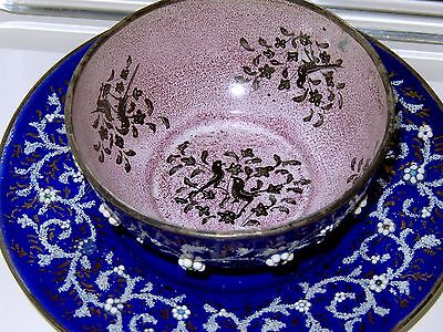 Cobalt Enamel Copper Bowl Plate Jeweled Hand Painted Birds Antique French