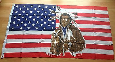 Native American Flag 5'x3' (5ft X 3ft) With Eyelets For Hanging Good Quality