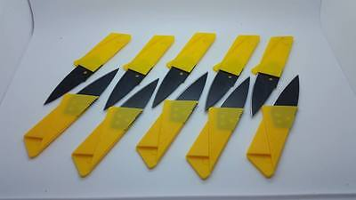10 YELLOW  Credit Card Knives folding wallet thin pocket survival micro knife