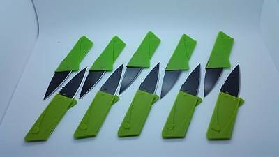 10 GREEN Credit Card Knives folding wallet thin pocket survival micro knife
