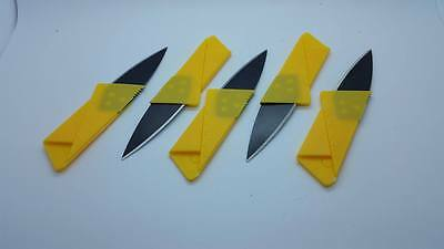 5 YELLOW  Credit Card Knives folding wallet thin pocket survival micro knife