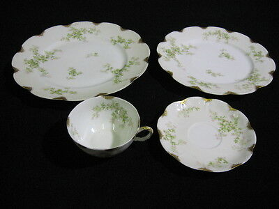 Antique Haviland Limoges of France 4 Piece Place Setting Floral and Gold