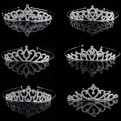 Bride Bridesmaid Wedding Prom Party Crystal Rhinestone Crown Tiara Headband Veil