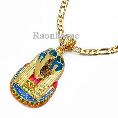 """NEW JAY Z EYE OF HORUS MICRO PENDANT 5mm 24"""" FIGARO CHAIN NECKLACE K7153G"""