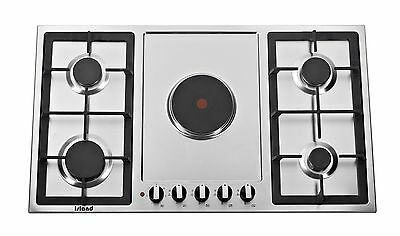 Island Combi 905, 90cm 5 Burner Built-in Steel Gas & Electric Hob with FFD
