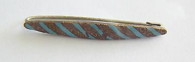 Lovely Antique Victorian Enamel Pin  Turquoise Stripes w/ Intricate Brass Etches