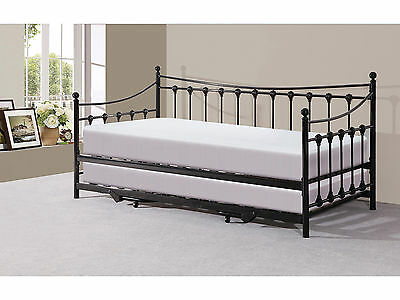 Victorian Traditional Metal 3FT Day Bed with Trundle Black or Ivory Space Saver
