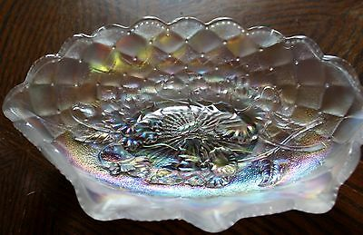 Imperial Carnival Glass Dish Marked IG Pansy