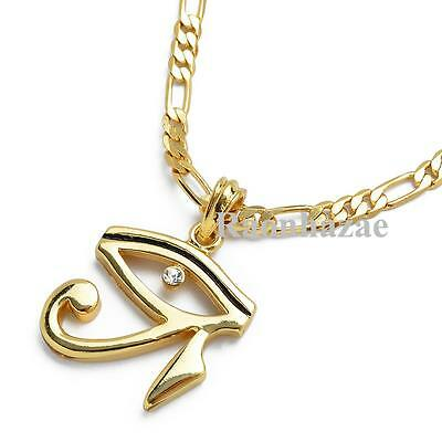 "GIFT EYE OF HORUS HERU EGYPTIAN  PENDANT 5mm 24"" FIGARO CHAIN NECKLACE K7265G"